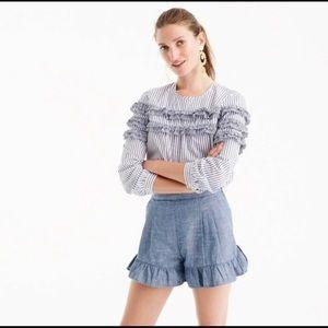 J. CREW Ruffle Denim Hi Rise Pleated Shorts 4 EUC